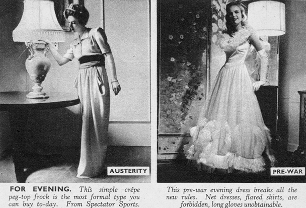 1940s austerity evening wear