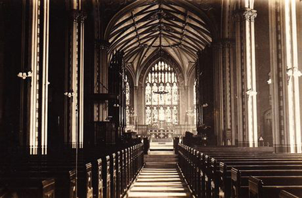 The interior of St Luke's looking towards the altar