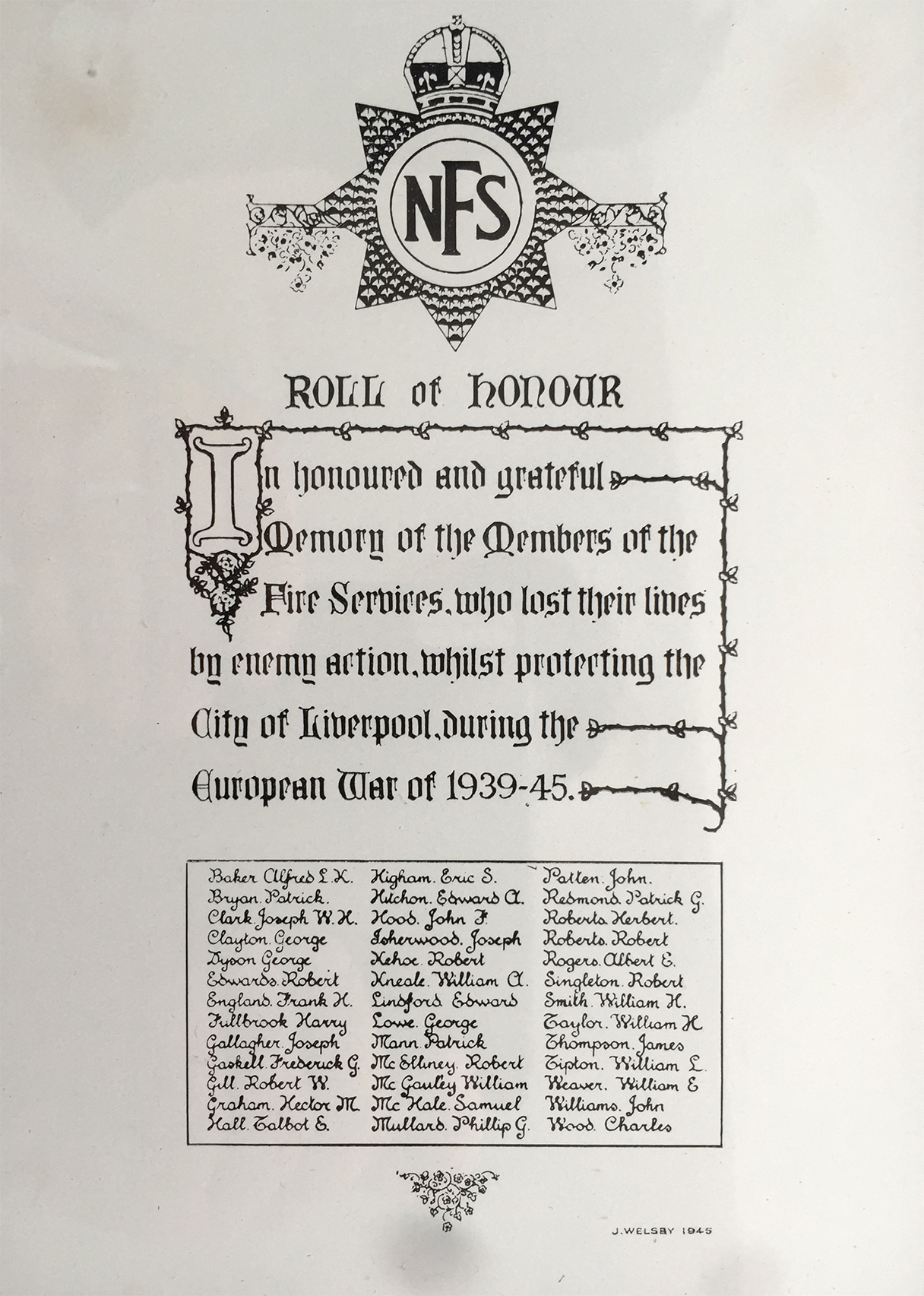National Fire Service Liverpool Roll of Honour